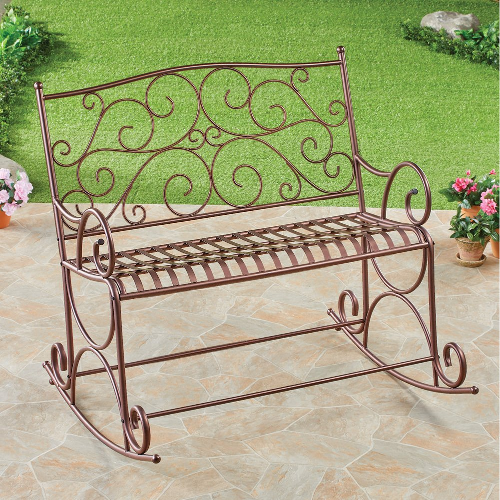 Collections Etc Outdoor Metal Scroll Double Rocking Chair Garden Bench Deck Glider