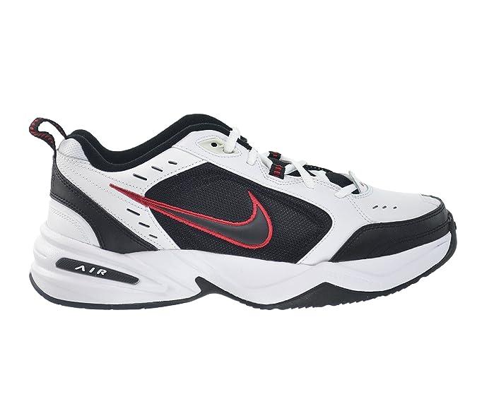 nike air monarca iv scarpe da uomo bianco / nero della squadra rossa