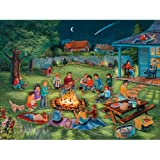 Bits and Pieces - 300 Large Piece Jigsaw Puzzle for Adults - Summertime Memories - 300 pc Sitting by the Campfire Jigsaw by Artist Christine Carey