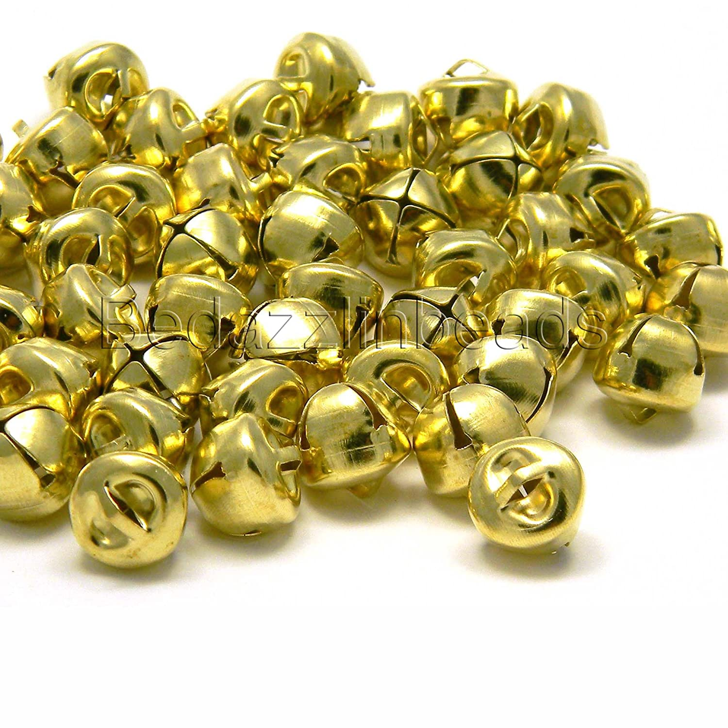 50 Round 10mm 3/8 inch Iron Craft Jingle Bells With Loop to Use as Dangle Charms (Gold) Bedazzlinbeads