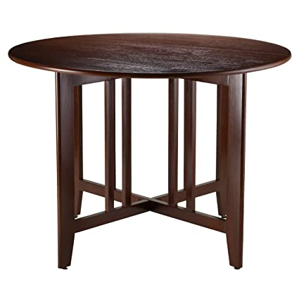 Winsome Wood Alamo, 94142, Double Drop Leaf, Round Table Mission, Walnut,