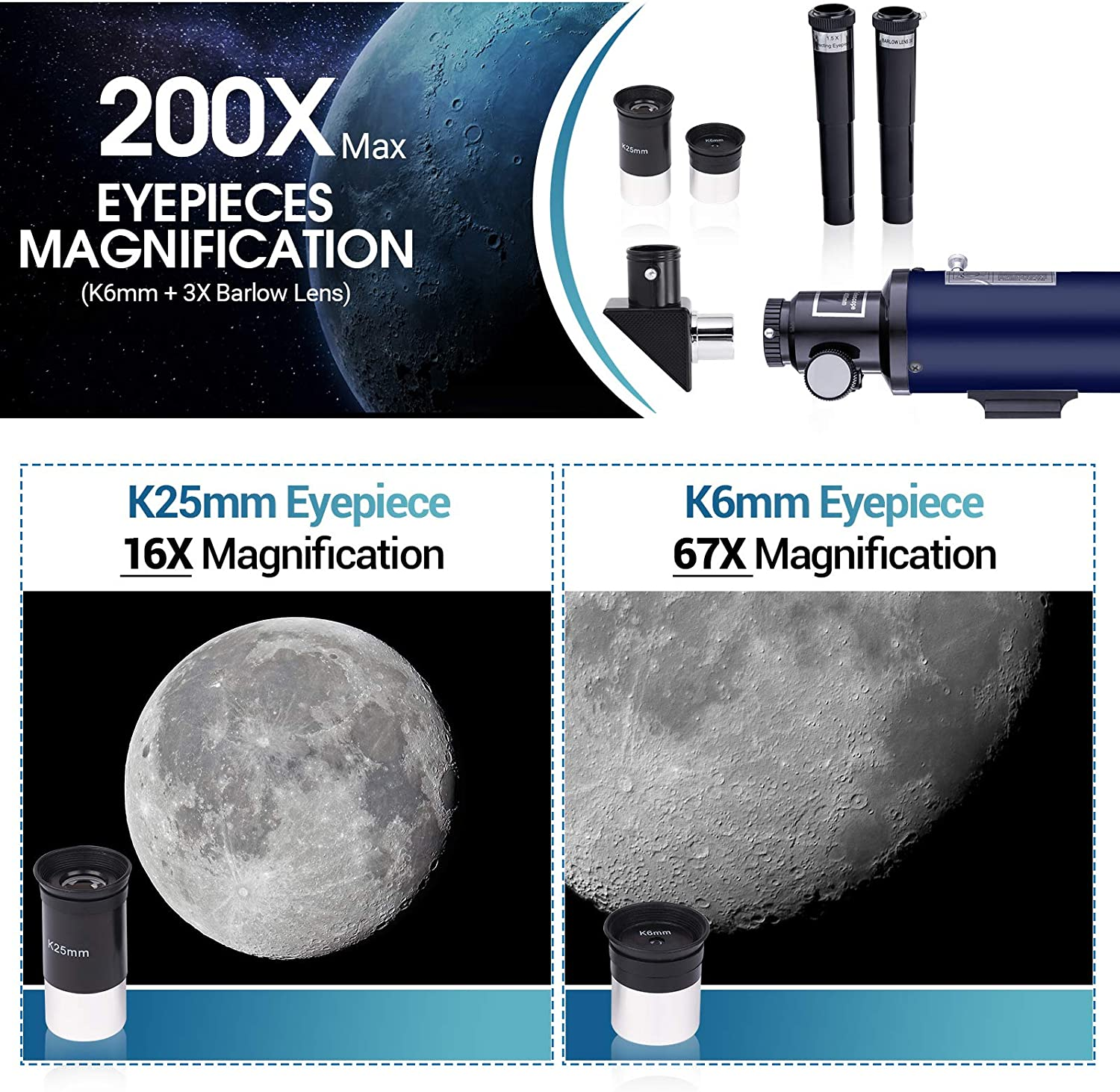 Phone Adapter 70mm HD Refractor Telescope for Kids and Astronomy Beginners Backpack 16X-200X Telescope for Astronomy for Children Gift 400mm Length Adults Astronomical Telescope Kit with Tripod