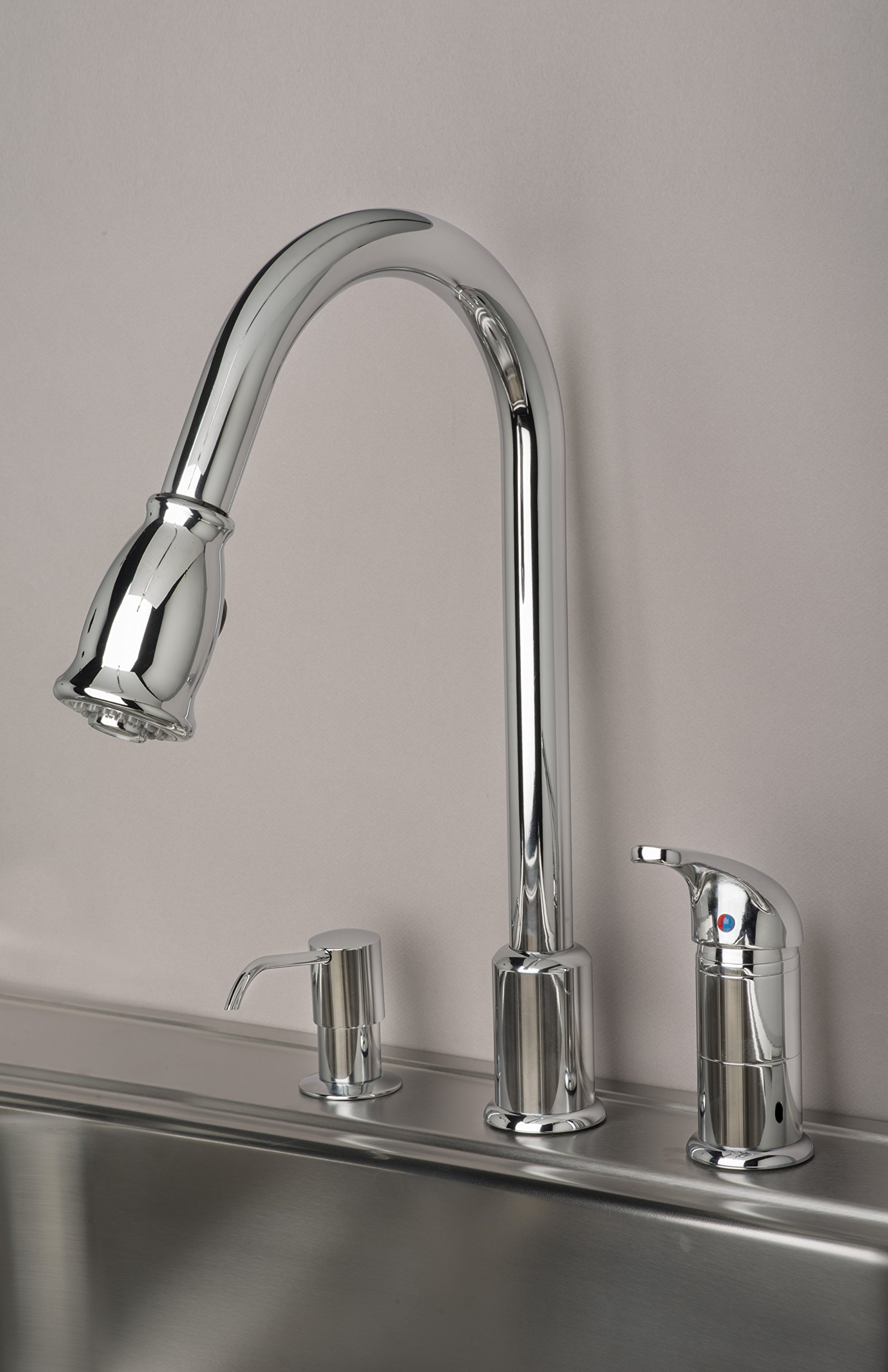 Builders Shoppe 1170CP 16'' Single Handle Pull-Down Kitchen Faucet With Soap Dispenser Chrome Finish by Builders Shoppe (Image #3)