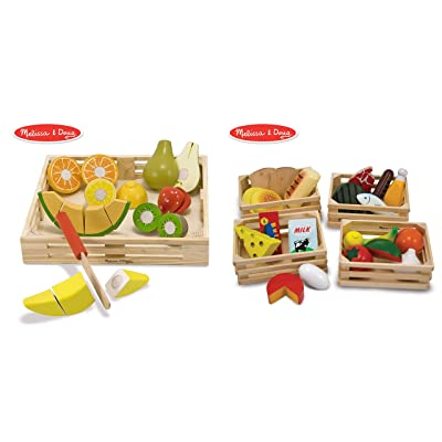 Melissa & Doug Food Groups - 21 Hand-Painted Wooden Pieces and 4 Crates with Melissa & Doug Cutting Fruit Set - Wooden Play Food Kitchen Accessory Bundle: Toys & Games