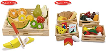 Amazon Com Melissa Doug Food Groups 21 Hand Painted Wooden Pieces And 4 Crates With Melissa Doug Cutting Fruit Set Wooden Play Food Kitchen Accessory Bundle Toys Games