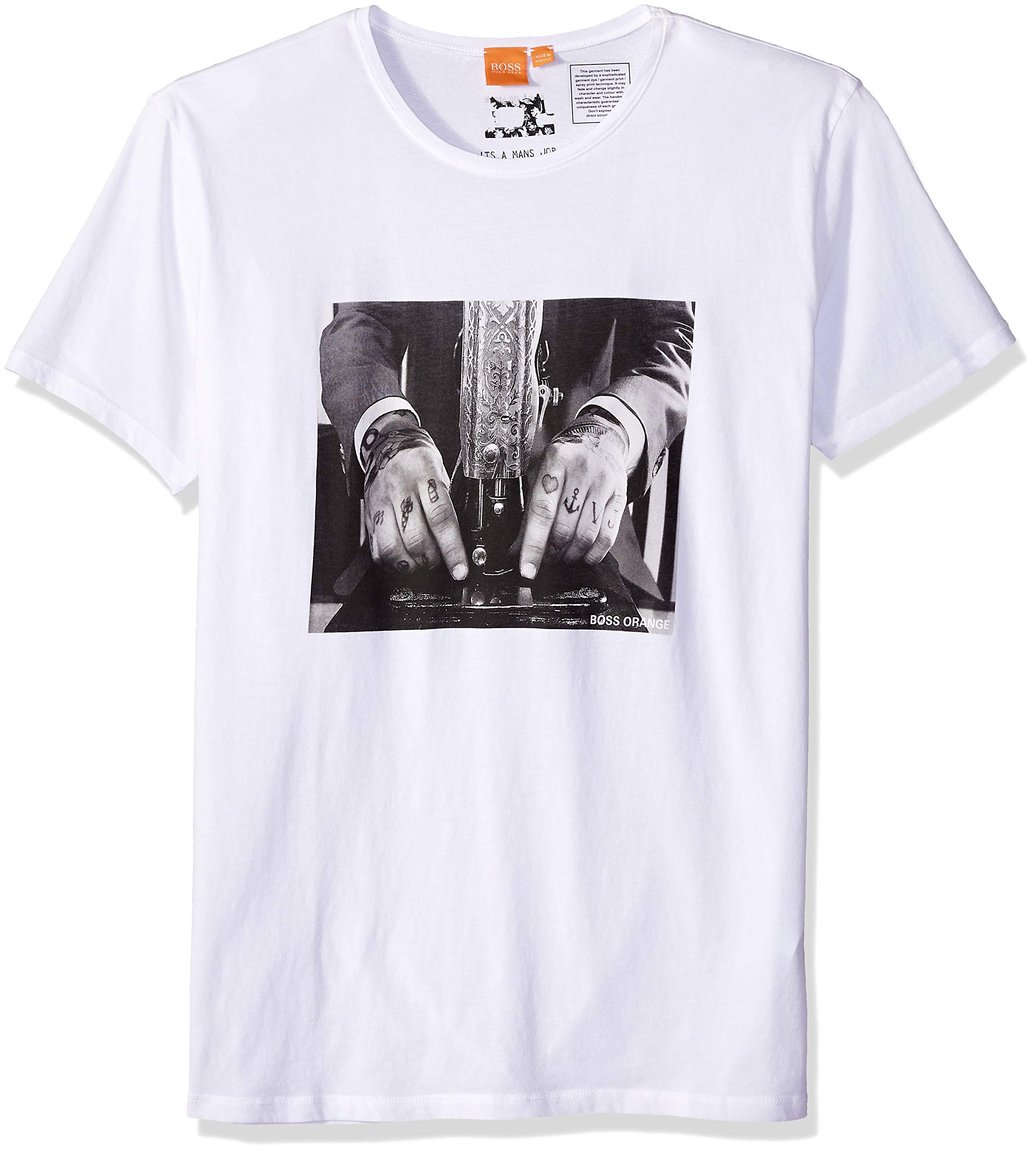 BOSS Orange Men's Taboo3 Printed T-Shirt, White, XL