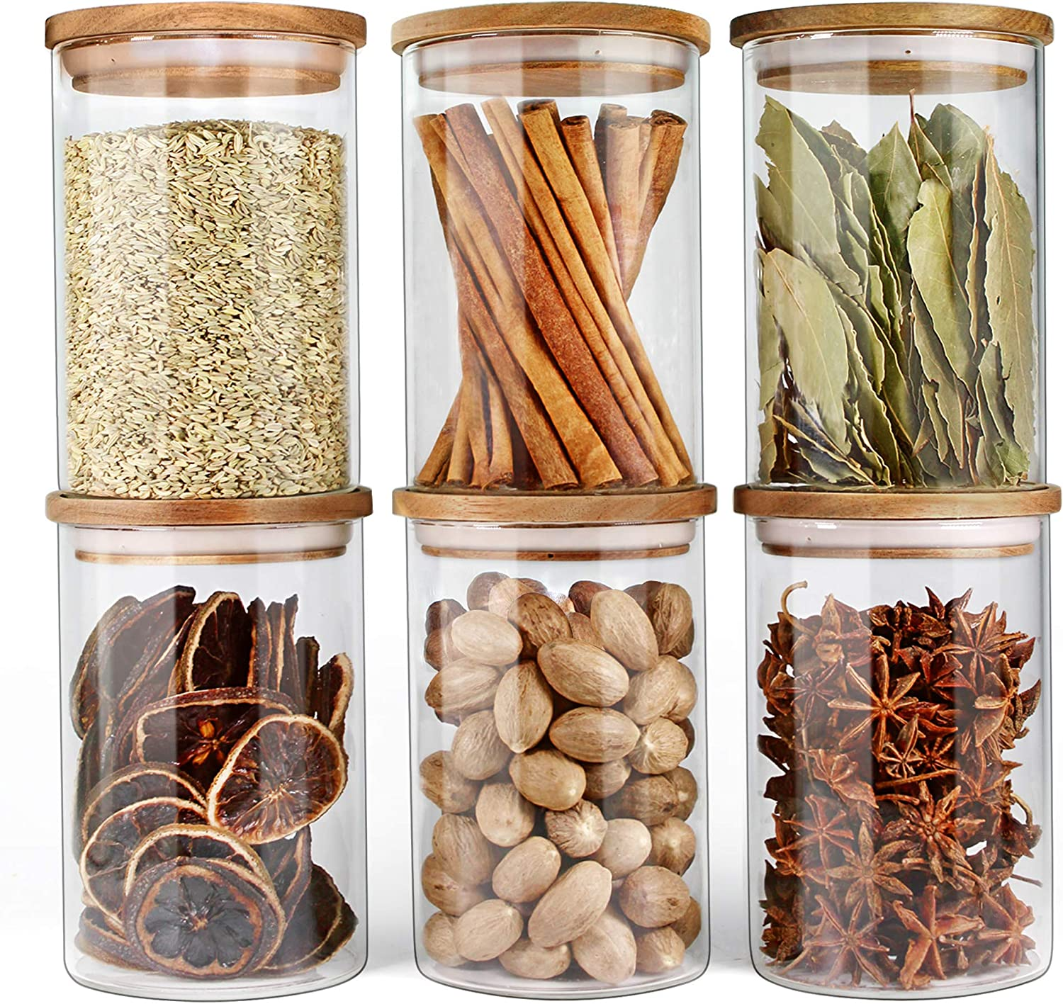 Glass Jars with Airtight Lids Urban Green, Airtight Glass Canisters with Wood Lids, Glass Storage Containers with Bamboo Lid, Food Storage Containers, Glass Canister Sets (6 Pack of 27oz)