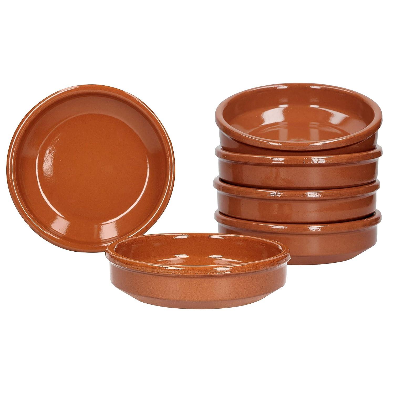 MamboCat Cazuela Lot de 6 Bols en Argile de 175 ML /Ø 12 cm Marron glac/é pour Cuisine gastronomique et m/éditerran/éenne