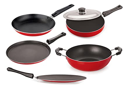 Nirlon Non-Stick Aluminium Cookware Set, 5-Pieces, Red/Black (26_FT12CTFP12KD12TP_66_3)
