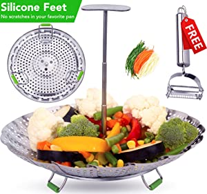 Instant Pot Veggie Steamer Basket - 3, 5, 6 & 8 qt.- Extendable Handle, Foldable Legs with Silicone Feet. Food Steamer - Instant Pot Accessories.100% Stainless Steel (SS Ext.Handle -Std)