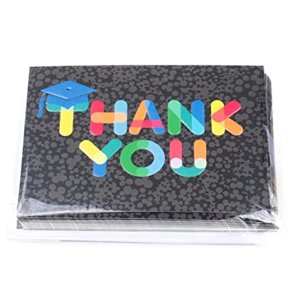 Hallmark Graduation Thank You Notes, 20 Notecards And 20 Envelopes  (Mortarboard With Rainbow Lettering