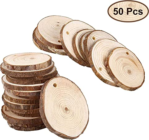 Pack of 100pcs Round Wooden Pieces DIY Craft for Rustic Wedding Party
