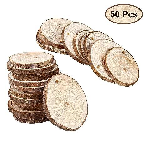 50 St/ück - 3-5 cm Unbehandelte Holzscheiben mit 3 mm Gewindloch Rustikale Holz Log Scheiben 3-5 mm Dicke Handwerk und Dekoration Holzscheiben mit Loch Holzscheiben f/ür Kunsts