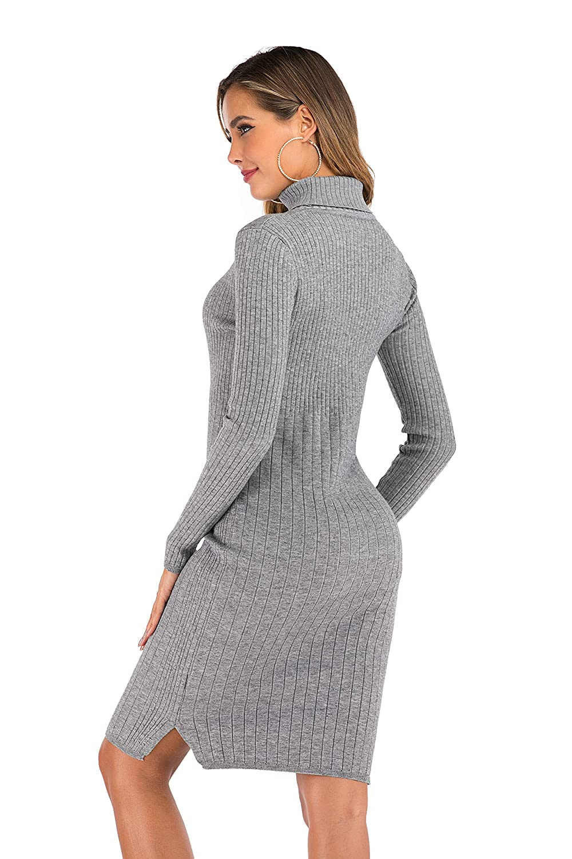 Enjoyoself Donna Maglione Lungo Elegante con Collo Alto Vestito Accollato a Maglieria Abito Aderente Dolcevita Maglioncino per Autunno Inverno