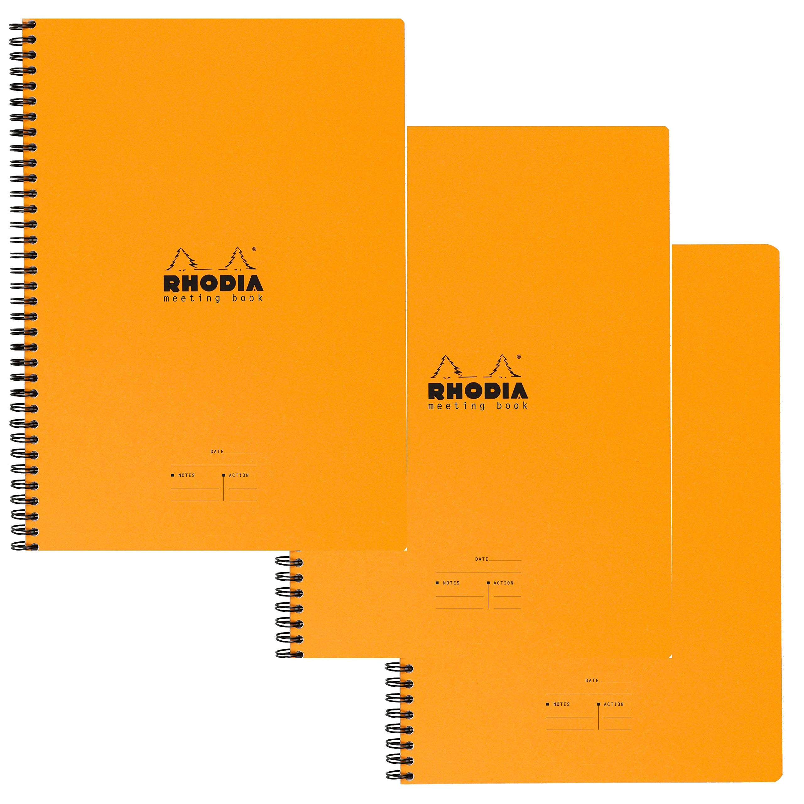 Rhodia Meeting Books 8.85 X 11.69 inches, Orange, Pack of 3