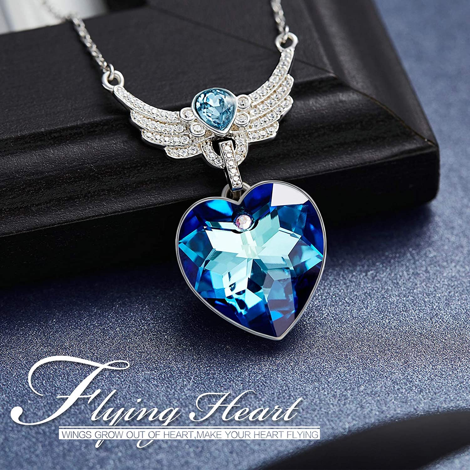 Adisaer Diamond Necklace Thin Sterling Silver Plated Angel Wings Cz Guardian Love Blue Heart Created Sapphirewomen Necklace