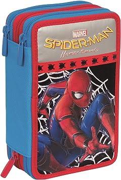 Estuche Escolar 3 Pisos - Marvel Spiderman Homecoming - Multi Compartimentos con lápiz, rotuladores, boligrafos… Negro Azul Rojo: Amazon.es: Equipaje
