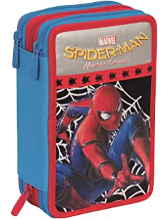 ef9f318ddc ASTUCCIO 3 ZIP MARVEL - SPIDERMAN HOMECOMING - attrezzato con penne,  matite, pennarelli Nero