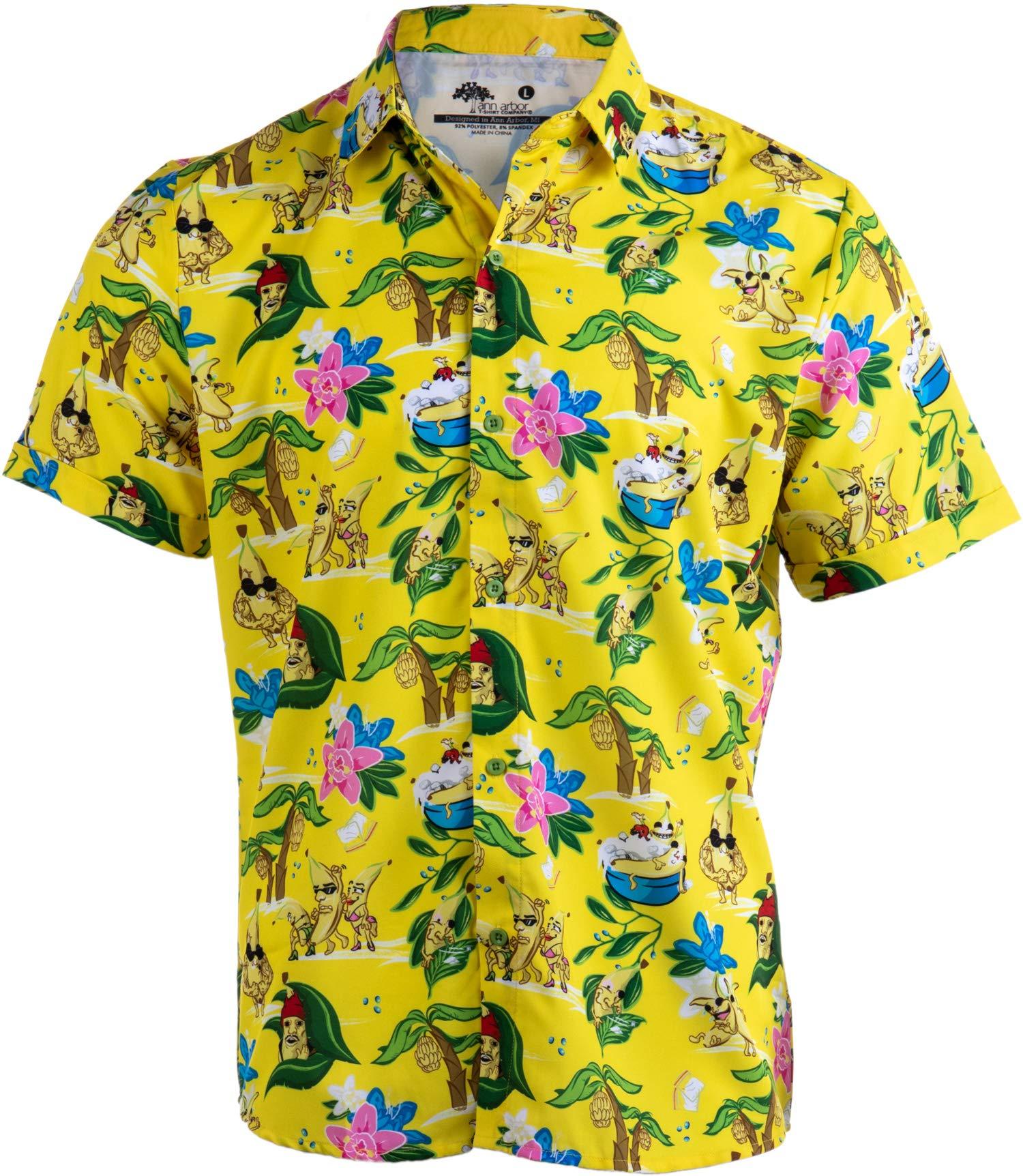 Bananas & Blow | Funny Cool Hawaiian Button Down Polo Golf Party Shirt for Men-(Collar,2XL) Yellow by Ann Arbor T-shirt Co.