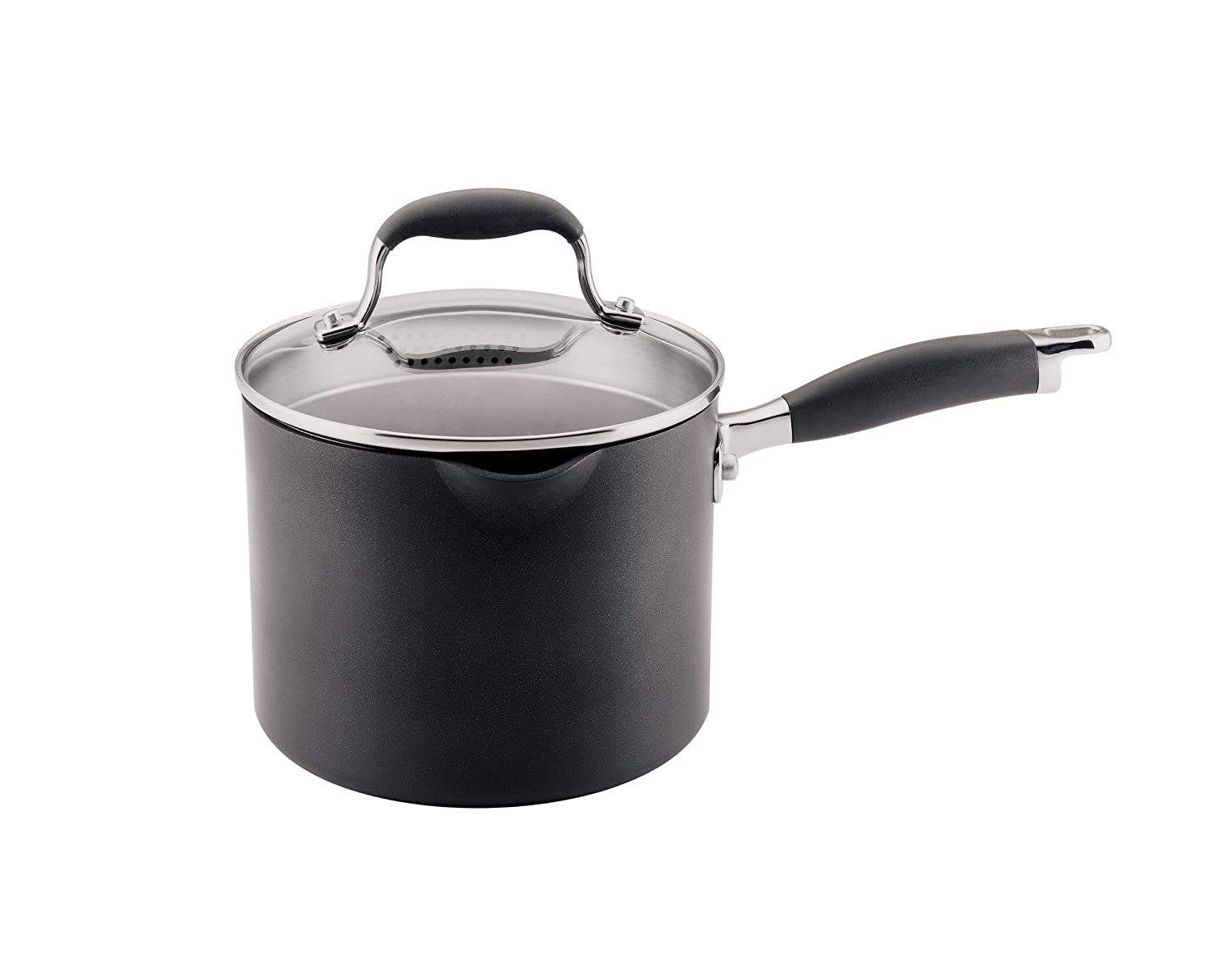 Anolon Advanced Hard Anodized Nonstick 3-1/2-Quart Covered Straining Saucepan with Spouts: Amazon.es: Hogar