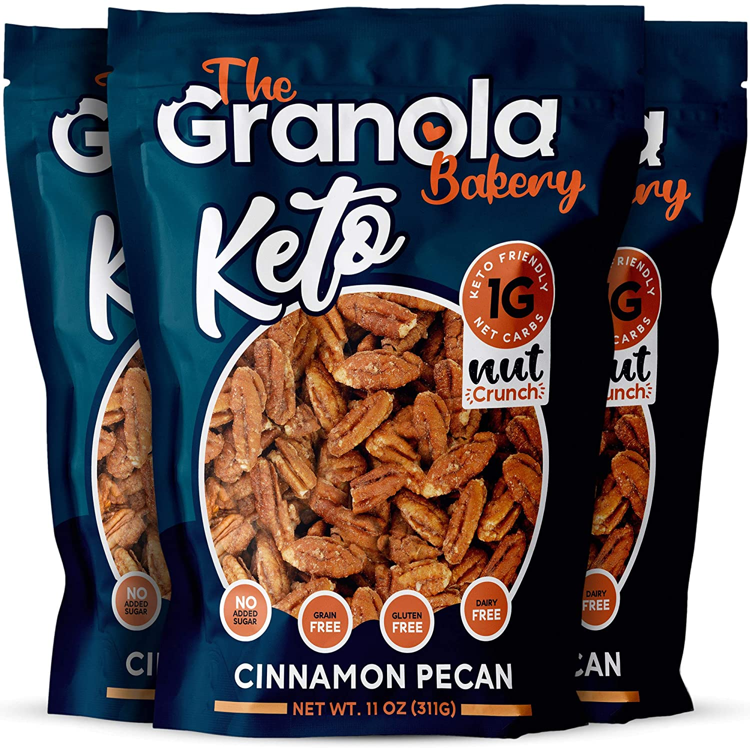 The Granola Bakery Keto Candied Pecans | Low Carb Keto Nut Snack | 2g Net Carb, Low Sugar | Small Batch, Hand Crafted | Cinnamon Pecan, 28.5 Ounces (Pack of 3)