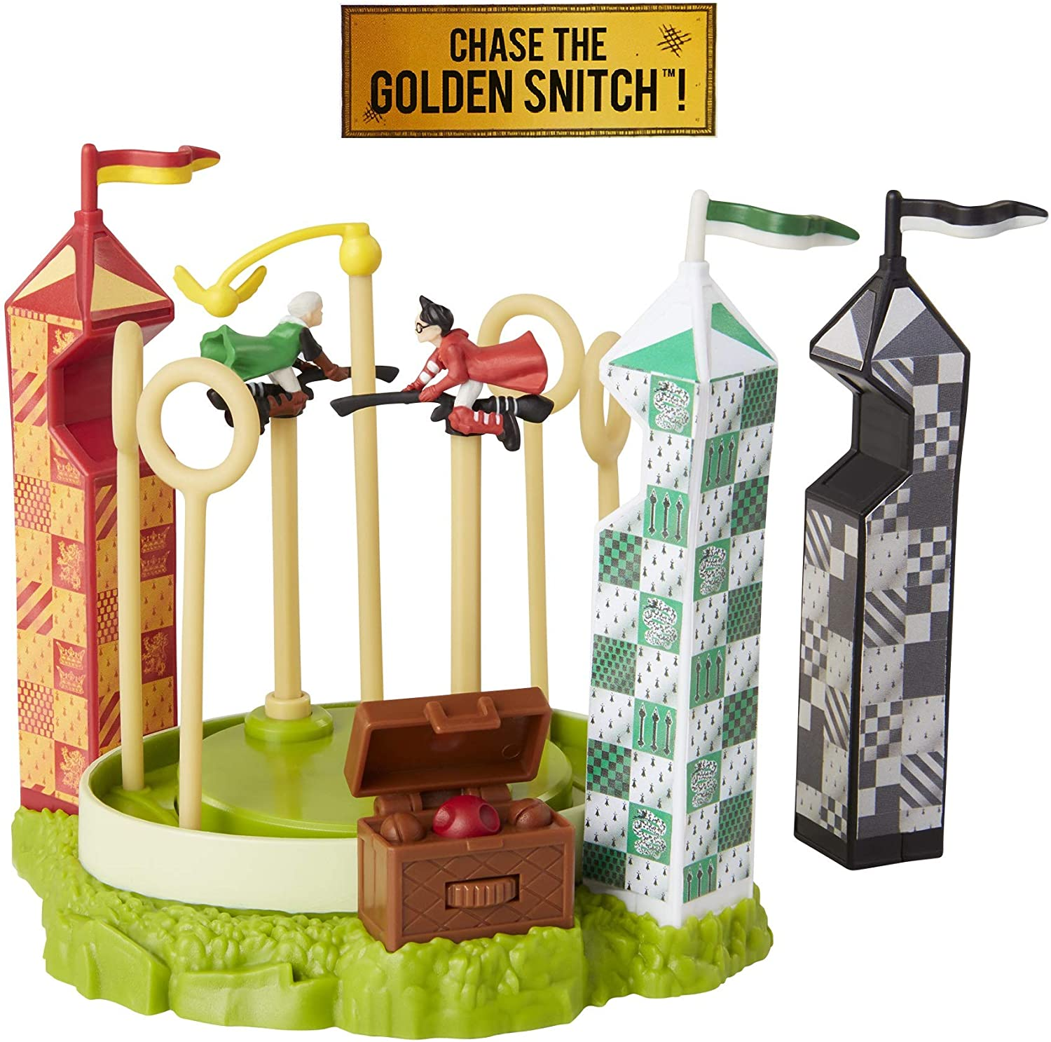 HARRY POTTER Quidditch Pitch Arena Mini Playset, Featuring HP and Draco Malfoy! Chase The Golden Snitch!