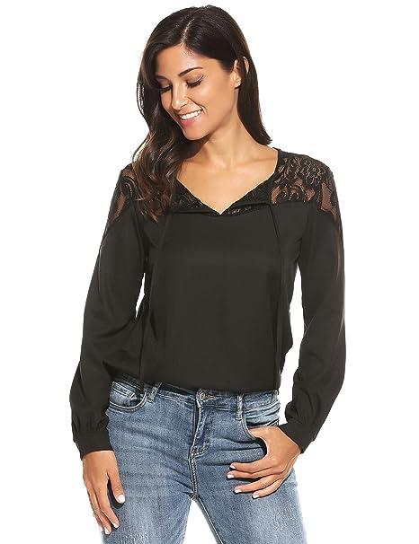 c8f1615562f SE MIU Women Lace Blouse Lace Up Top Shirt Patchwork at Amazon ...