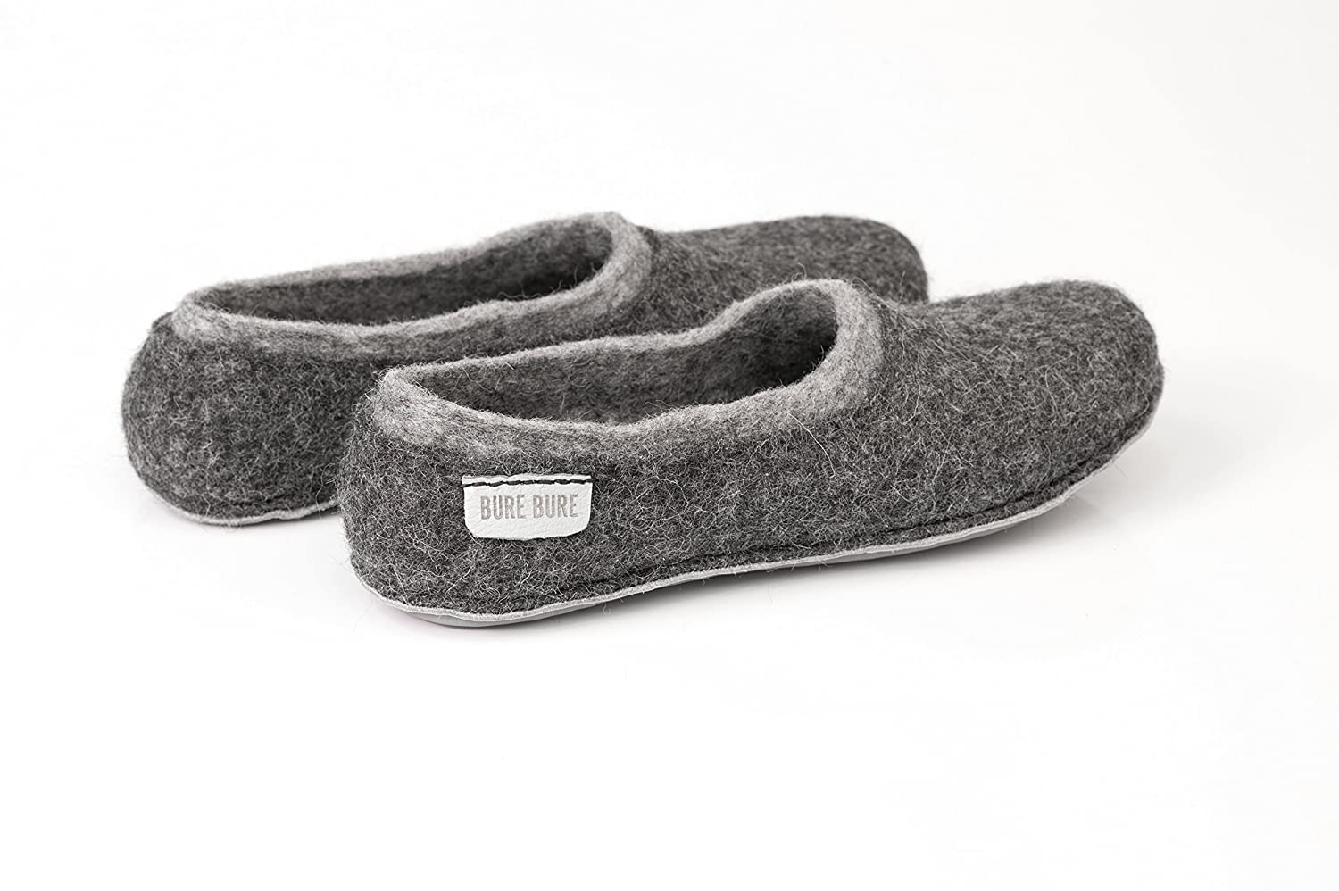Felted Slippers for Men in shades of grey and black