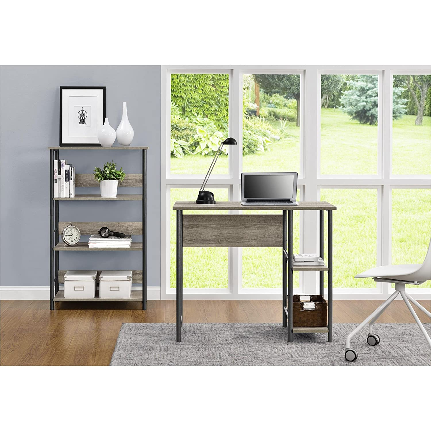 Amazon: Altra Furniture 9254196COM Garrett Desk Combo Altra Metal  Student Bookcase, Sonoma Oak/Gunmetal Gray: Kitchen & Dining