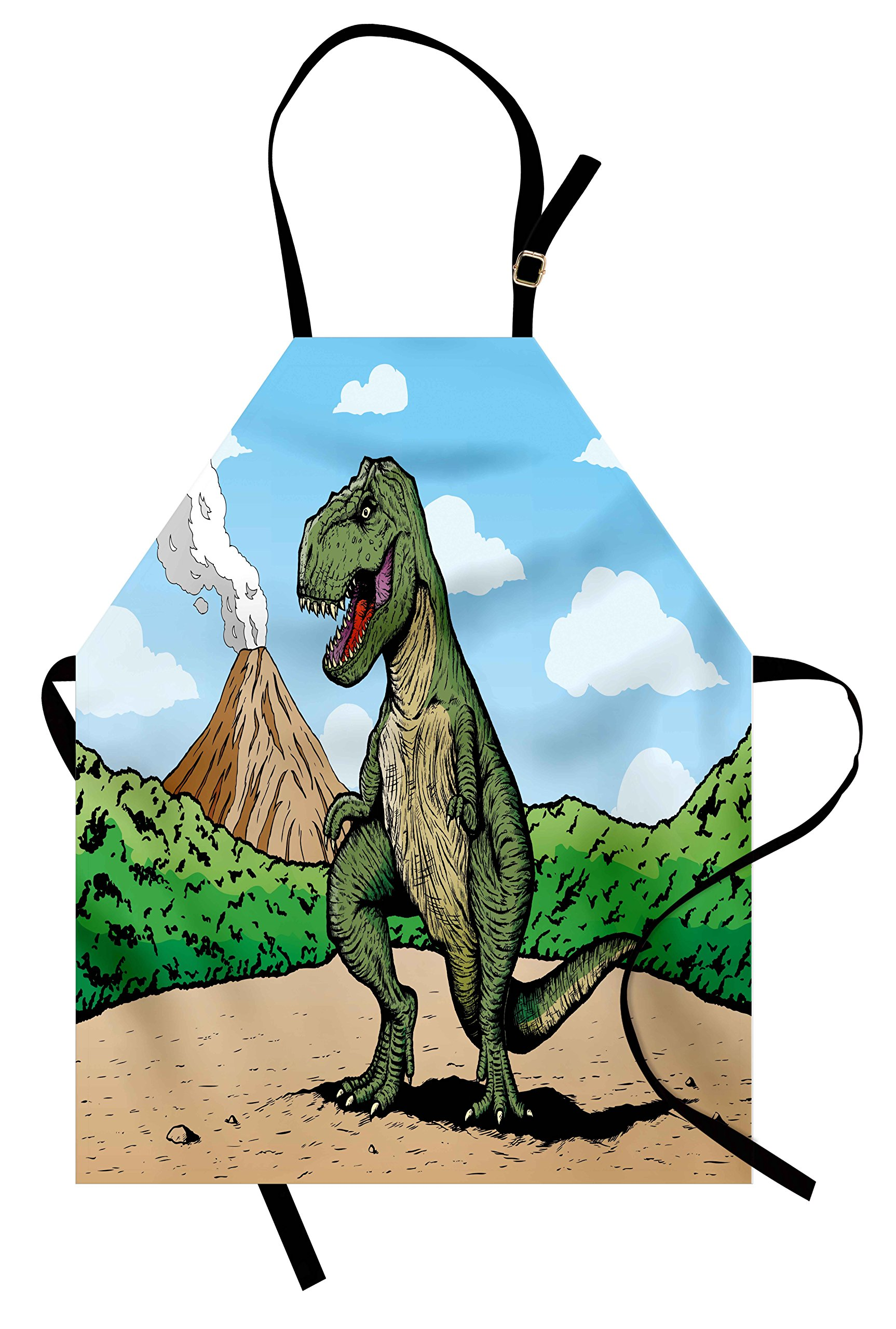 Ambesonne Dinosaur Apron, Giant Lizard T-Rex on Active Volcano Untouched Jungle Backdrop, Unisex Kitchen Bib Apron with Adjustable Neck for Cooking Baking Gardening, Green Pale Brown Pale Blue