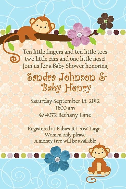 Jungle Baby Shower Invitations Hanging Monkey Any Colors Custom