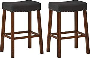 "Ravenna Home Dawn Nailhead Saddle Bar Stool, 30""H, Cherry with Black Fabric (2 Pack)"