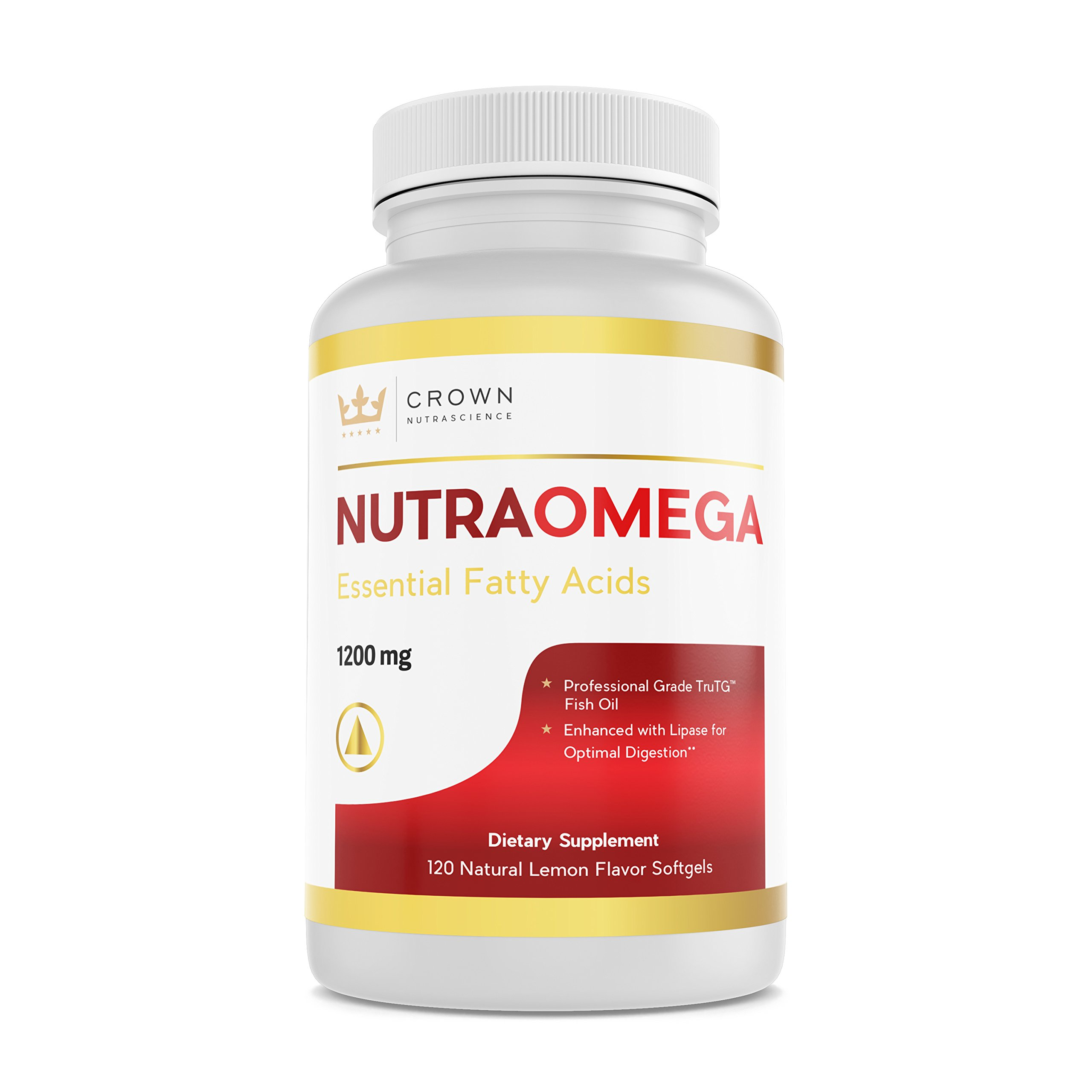 Omega 3 Fish Oil 1200mg Per Serving, 120 Softgels, Crown NutraScience - NutraOmega Burpless Triglyceride (TG) Form for Heart Health, Cognitive Function, Joint Support, and Eye Support