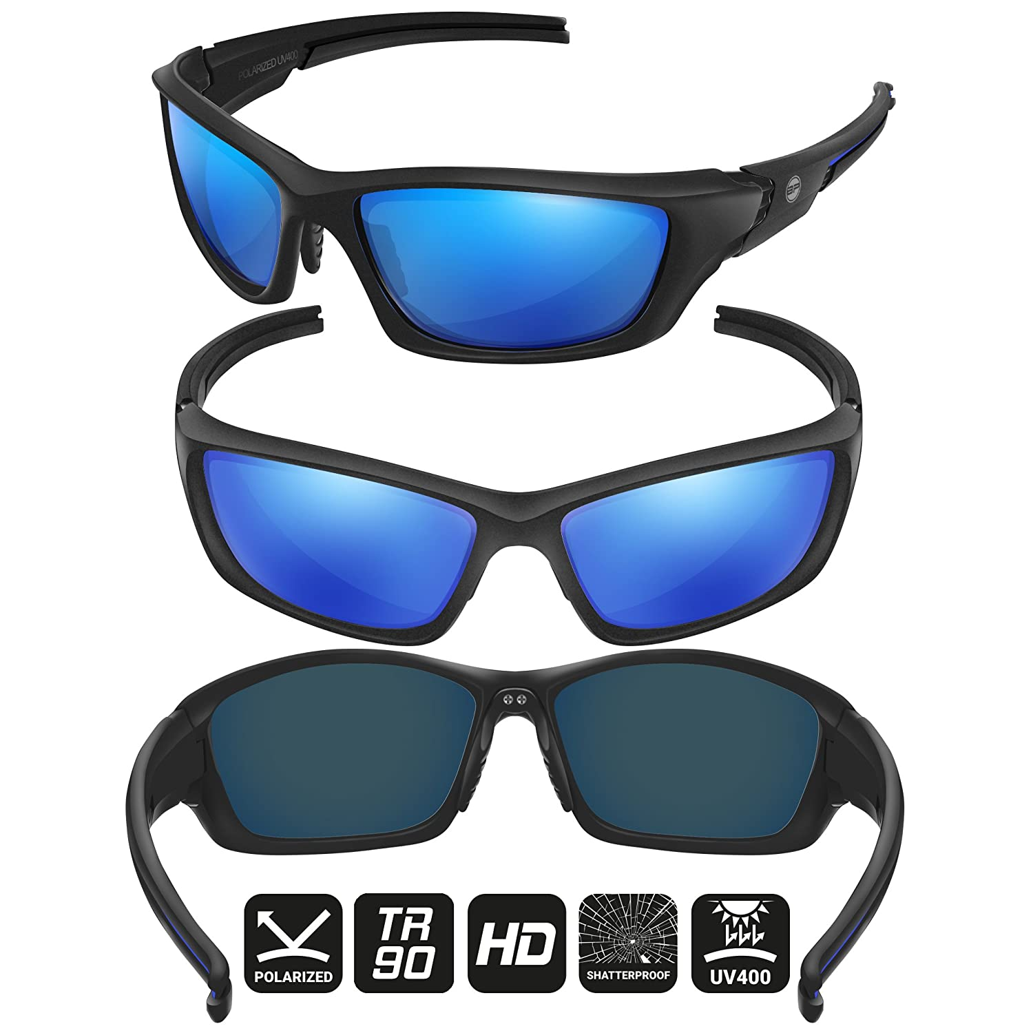 6d545ffe5c8 Amazon.com   BLUPOND Polarized Sports Sunglasses for Men - TR90 Unbreakable  Frames for Baseball Cycling Driving - Ranger   Sports   Outdoors