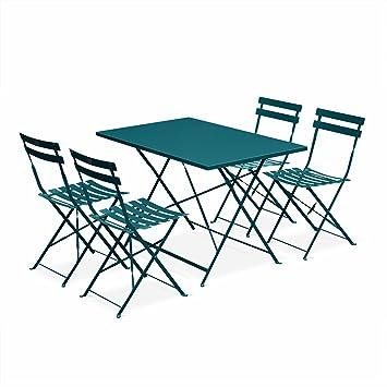 Salon de Jardin bistrot Pliable Emilia rectangulaire Bleu Canard Table rectangulaire 110x70cm avec Quatre chaises Pliantes, Acier thermolaqué