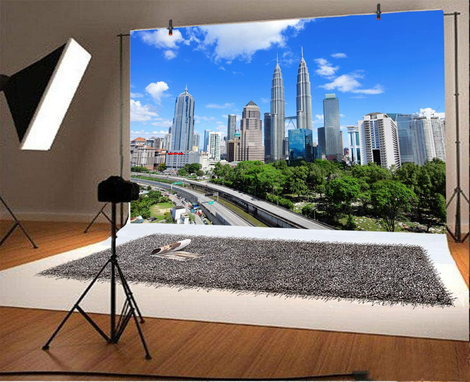 LFEEY 7x5ft Kuala Lumpur Skyline Backdrop Polyester Photography Background Modern City Many-storied Buildings Indoor Decors Wallpaper Holiday Party Backdrop Photo Studio No Wrinkle
