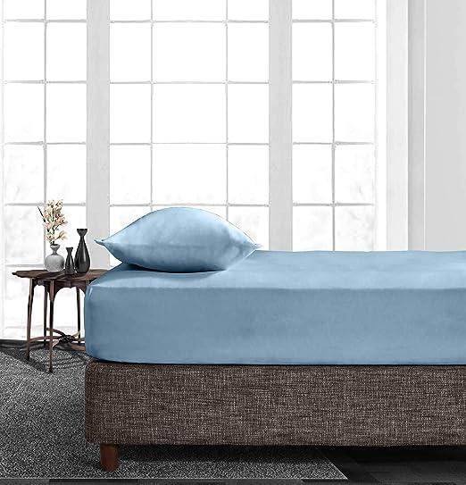 Sábana bajera ajustable de algodón egipcio de 600 hilos, color azul claro, 40 cm, con bolsillo profundo # Premium Bedding Collection (1 sola sábana bajera): Amazon.es: Hogar