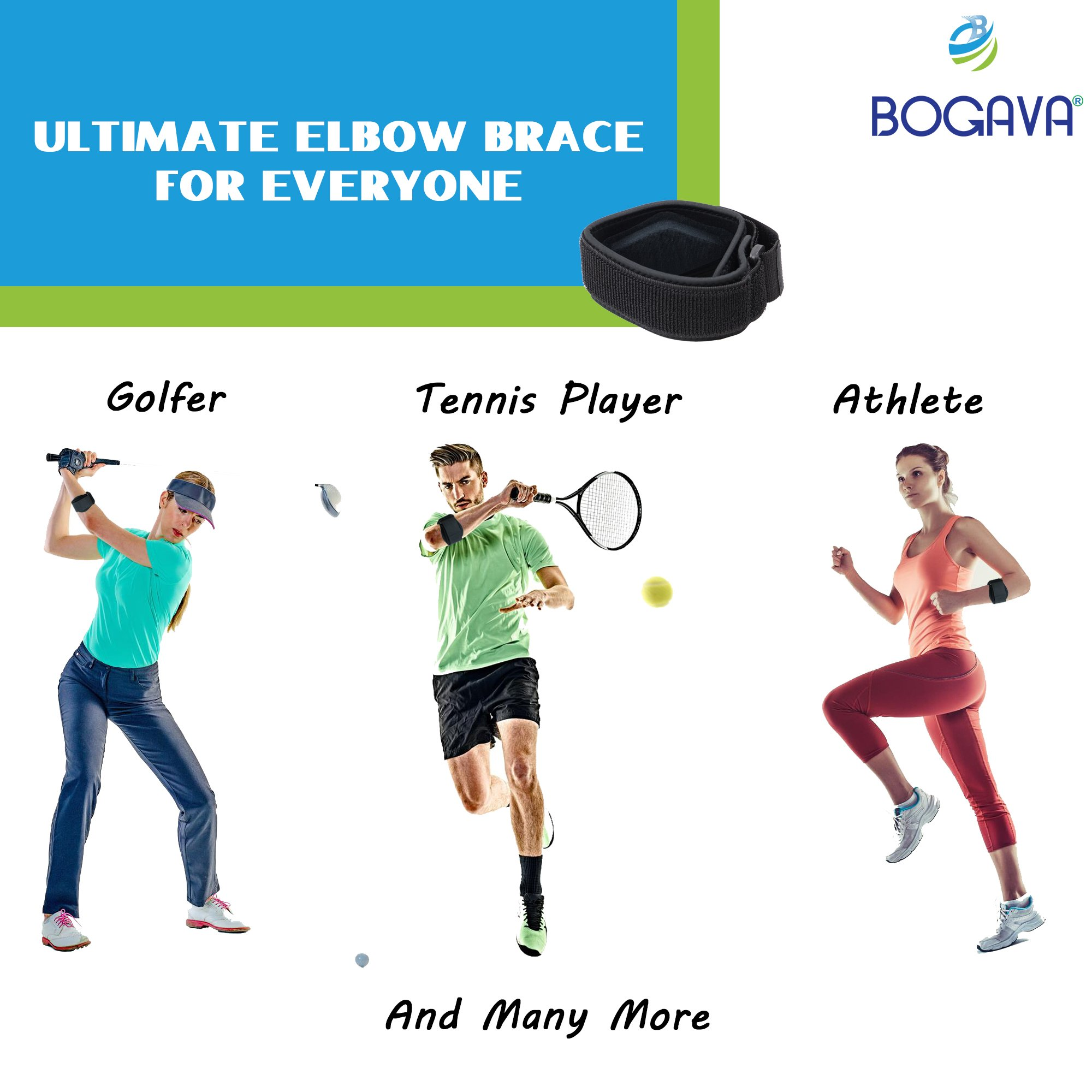 Tennis Elbow Brace - FDA Approved Elbow Brace for Tennis & Golfer's Elbow - 2 Pack With Compression Pad and Adjustable Strap - Pain Relief Against Epicondylitis - Include 2 Elastic Braces and 2 Ebooks