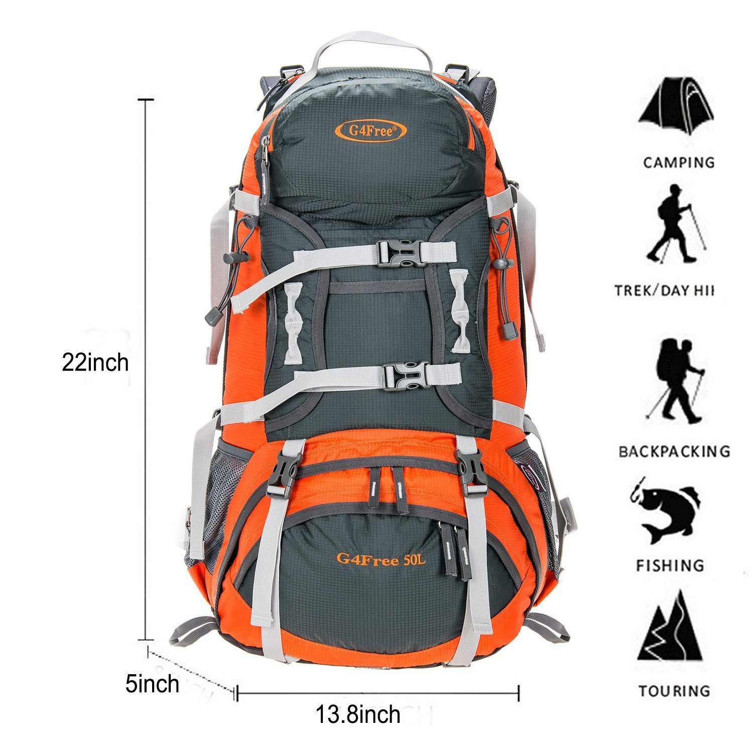 5ff9215e80 G4Free 50L Outdoor Sports Camping Hiking Waterproof Backpack Rucksack  Mountaineering Bag for Traveling Trekking with Rain Cover  Amazon.co.uk   Sports   ...