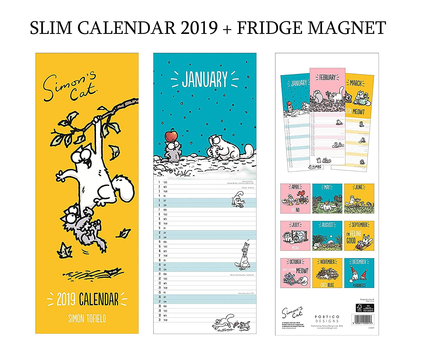 Simon s CAT - Calendario 2019 + imán para nevera en blanco ...