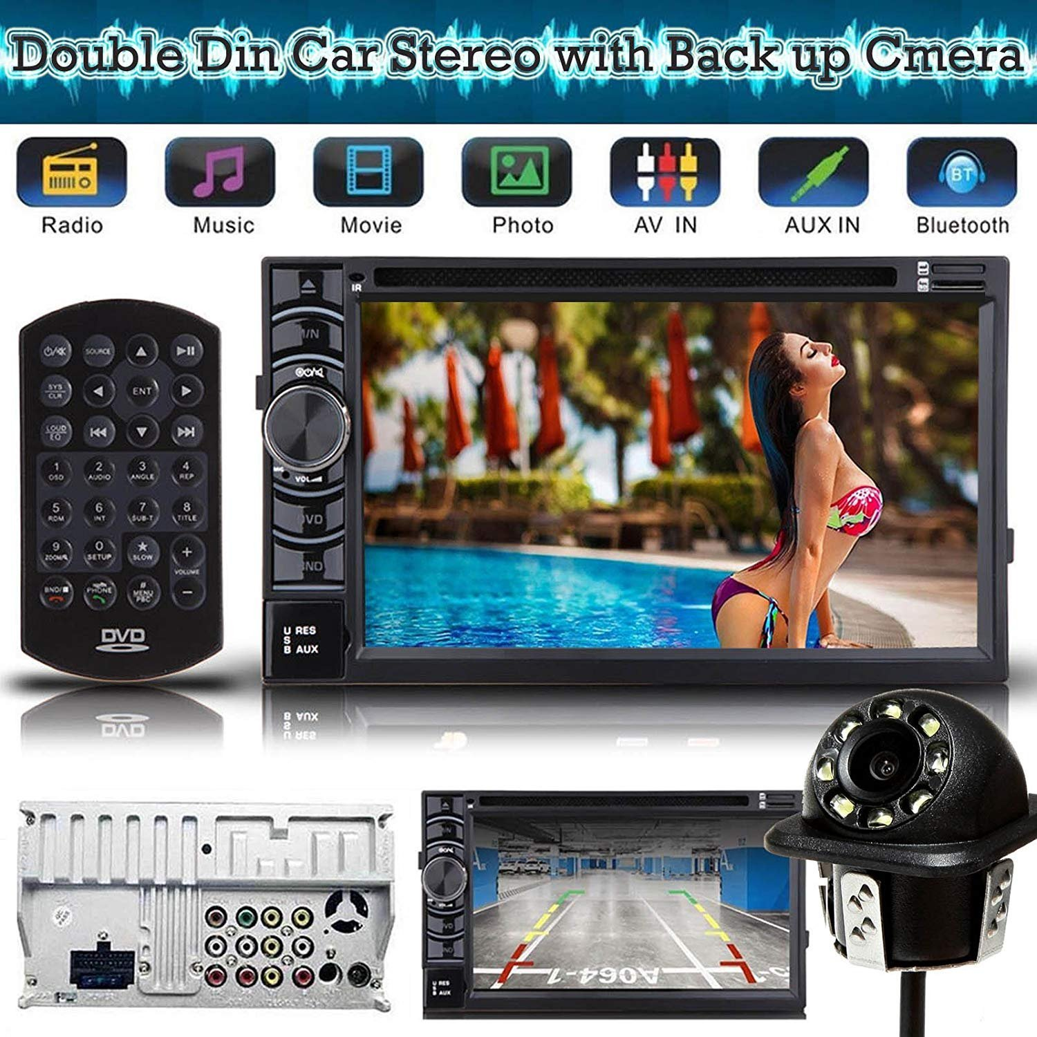 Universal 2 Din Car Stereo Dvd Cd Player Receiver Radio Metra Gmos04 Wiring Interface Connect A New And Retain Bluetooth Touch Screen With Remote Back Up Camera Rear View Clear Parking Assist Cam