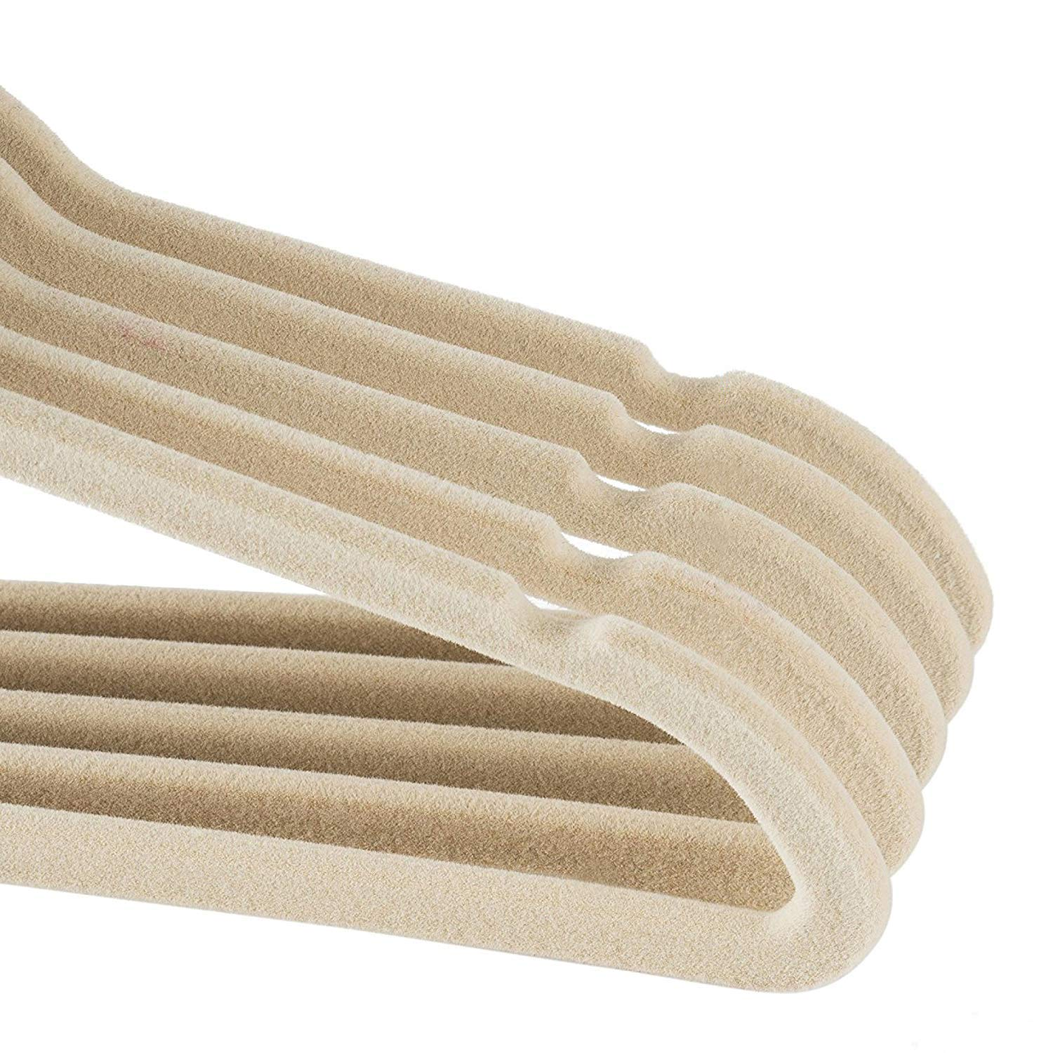 Beige baby sized Mangotree Velvety Clothes Hangers Ultra Thin and No Slip design 15 Pack