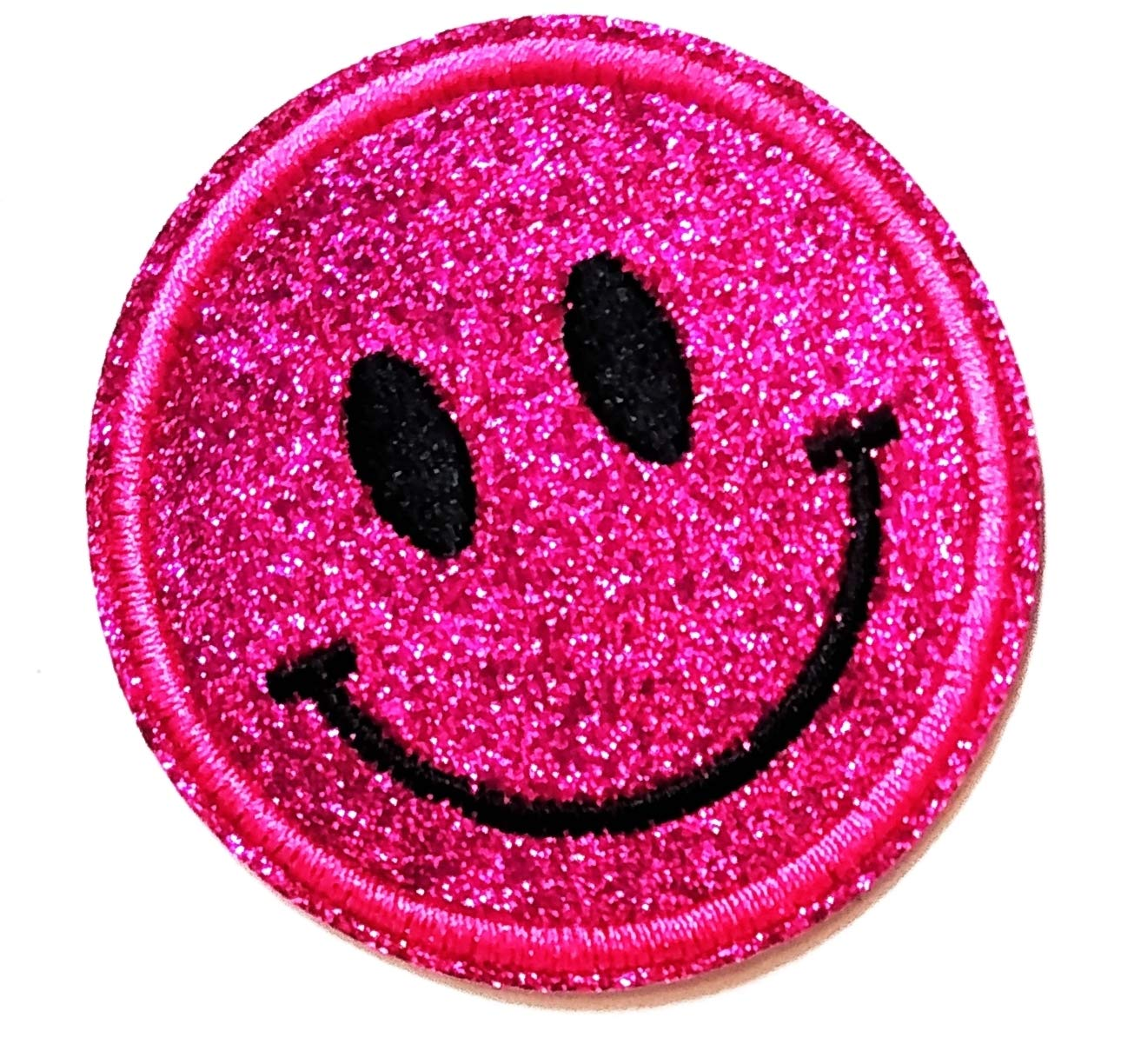 2.5'' X 2.5'' Good Day Pink Smiley Happy face Cartoon Kids Logo Jacket t-Shirt Jeans Polo Patch Iron on Embroidered Logo Sign Badge Comics Cartoon Patch by Tour les jours Shop