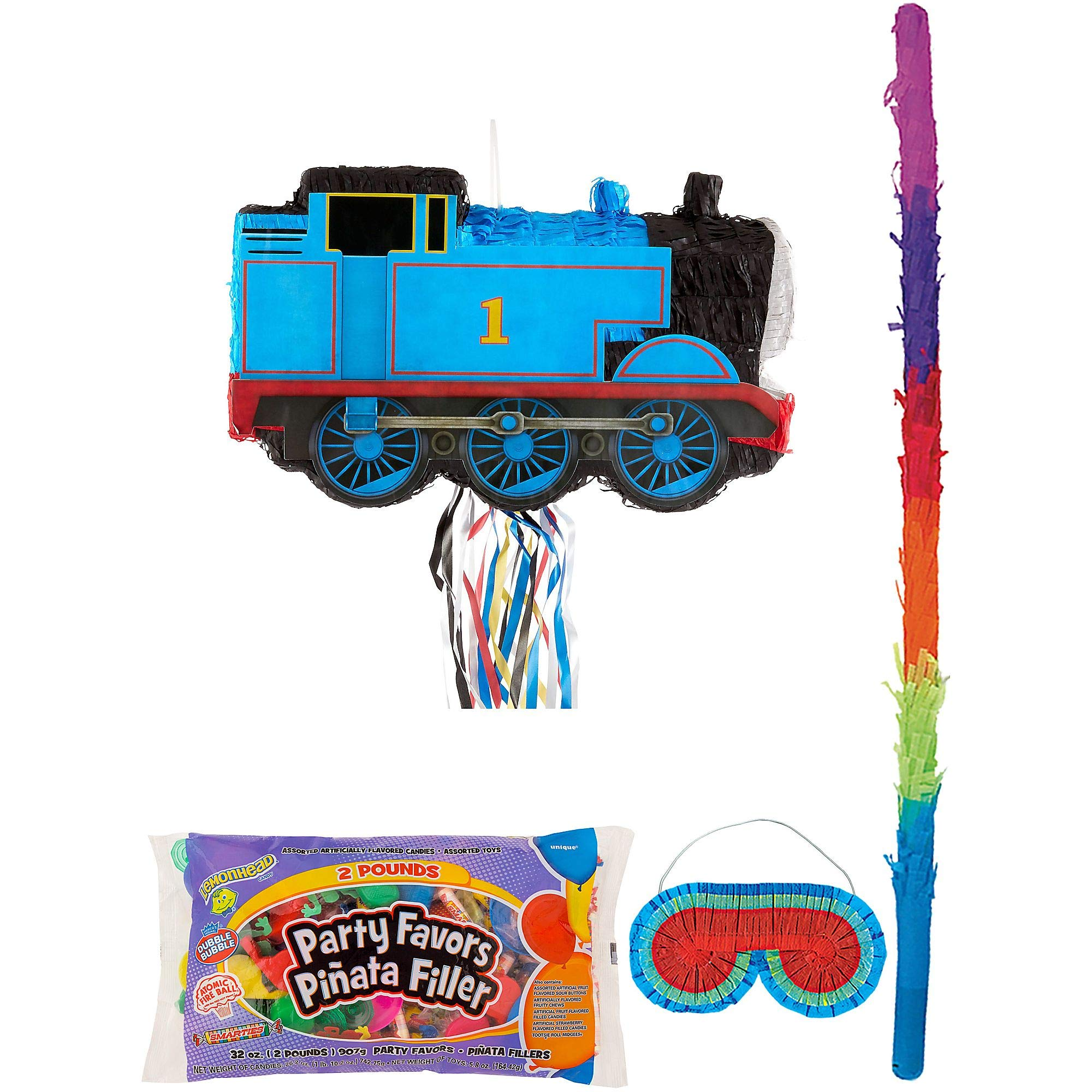Party City Thomas the Tank Engine Train Pinata Kit for Birthday Party, Includes Bat, Blindfold, Candy and Favors
