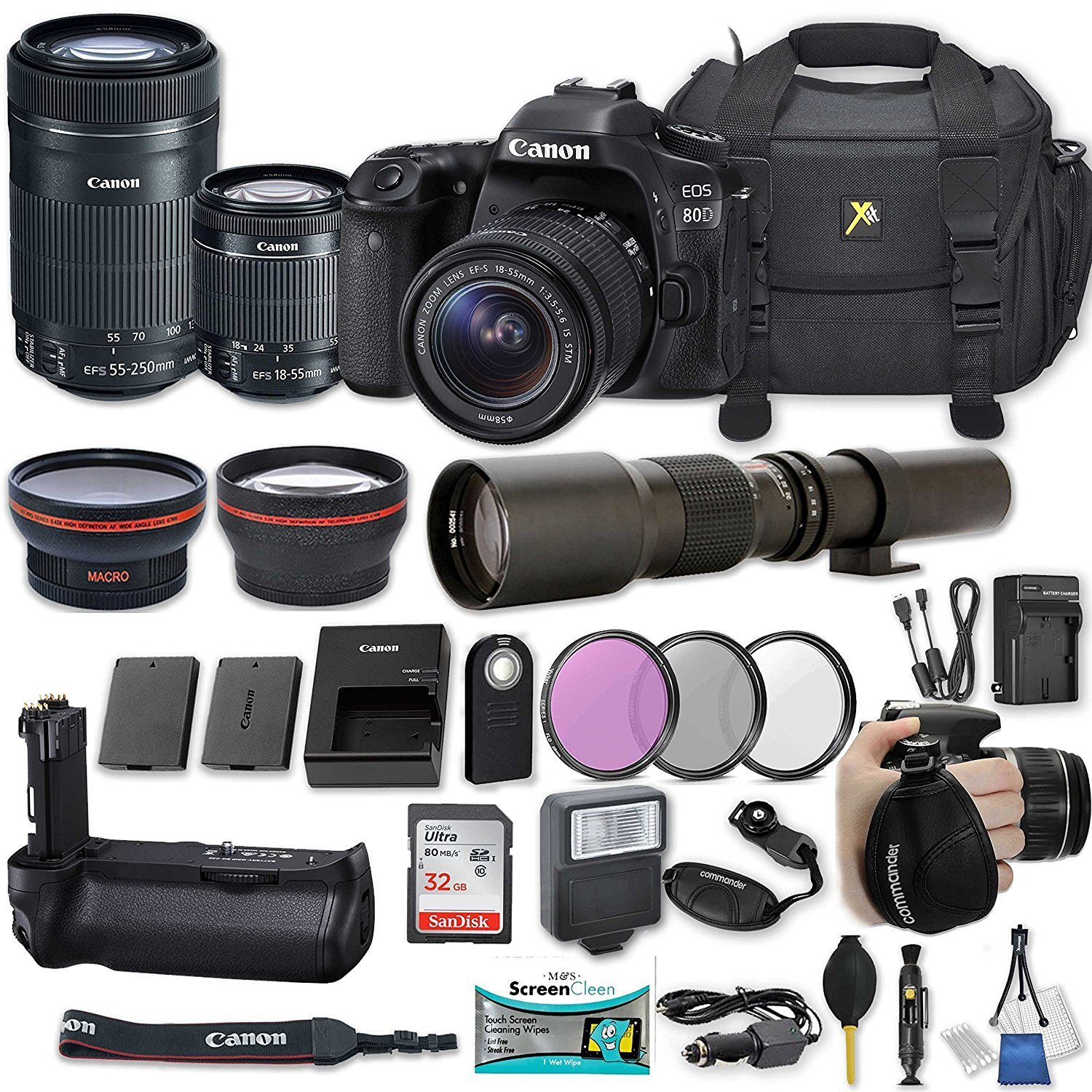 Canon EOS 80D DSLR Camera with EF-S 18-55mm f/3.5-5.6 IS STM Lens + EF-S 55-250mm f/4-5.6 IS STM Lens + 500mm Preset Lens + 32GB Sandisk SD + Slave Flash + Battery Grip + Filter + More by 33rd Street