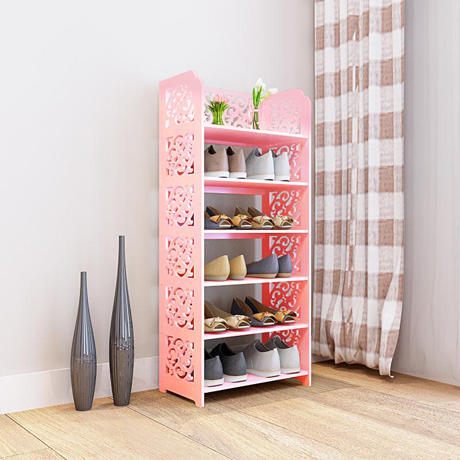 DL furniture WPC Tall 6 Tier Multipurpose Shoe Rack & Book Shelf L16.5 x W9.5 x H38 Environmental Friendly Material | Pink by DL furniture (Image #2)