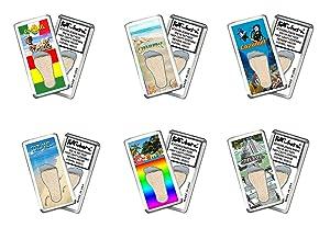 Cozumel FootWhere Souvenir Magnets. 6 Piece Set. Made in USA