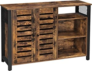 VASAGLE Lowell Storage Cabinet, Floor Cabinet and Sideboard with Adjustable Shelves and Louvered Doors, for Dining Room, Living Room, Kitchen, Industrial, Rustic Brown and Black ULSC083B01