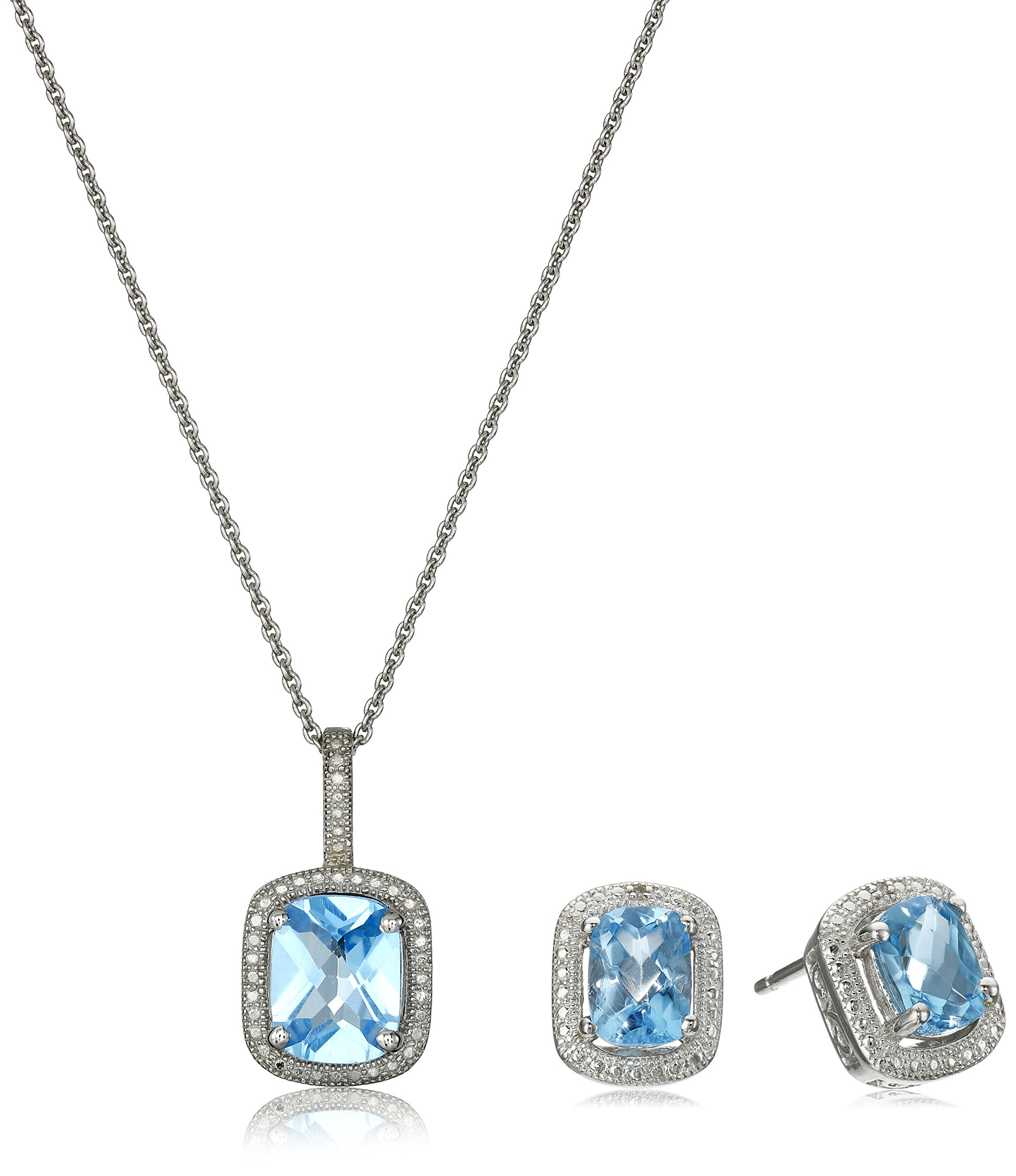 Sterling Silver Blue Topaz Cushion with Diamond Pendant Necklace and Earrings Box Set, 18''