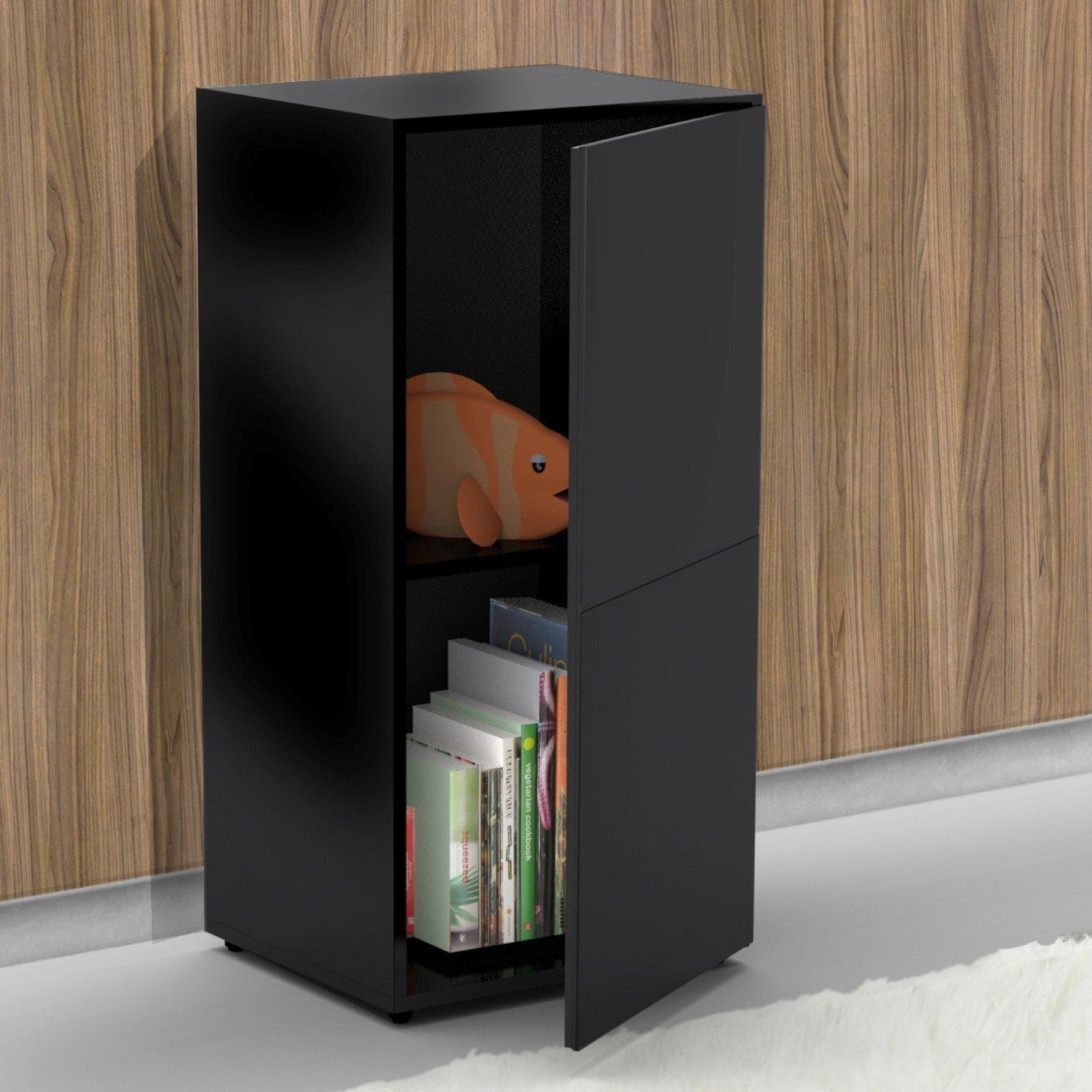 Bookcase in Modern/Contemporary Style Black Avenue 1 Door Storage Book Shelf - 18W x 15.5D x 36.75H inches